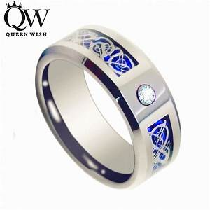 queenwish 8mm cz silver celtic dragon tungsten carbide With wedding ring for a man