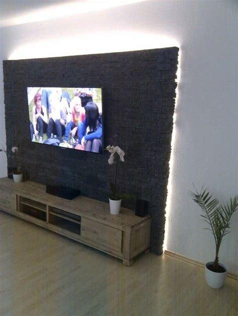 Steinwand Mit Tv by Steinwand Mediawand Eigenbau Zimmer In 2019 Soportes