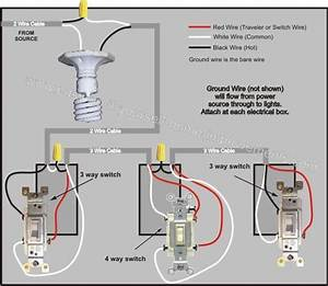 4 Way Switch Wiring - Power From Light Fixture To Light Switch Setup