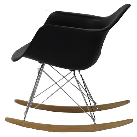 eames style arm molded rocking chair blue black white