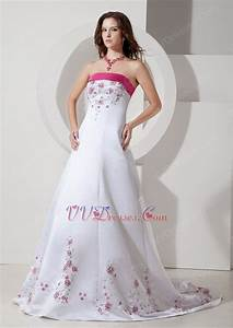 fuchsia embroidery discount ivory wedding dress with color With fuchsia wedding dress
