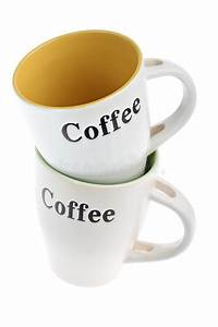 two stacked white coffee cups with labels isolated royalty With coffee cup labels