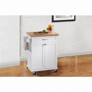 Hampton Bay Ashby White Kitchen Cart-120306008-W - The ...