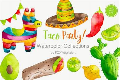 Mexican Taco Clipart Watercolor Party Thehungryjpeg Clip