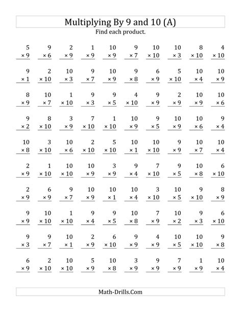 multiplication 10 11 12 worksheets mad minute