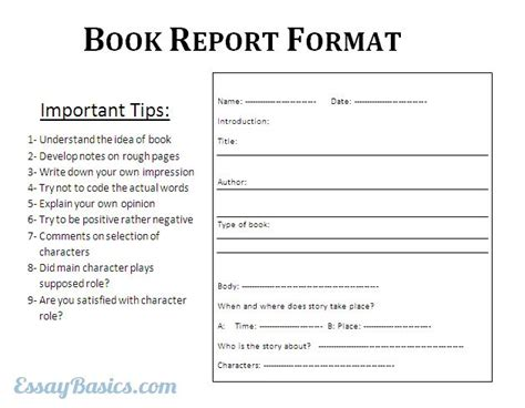 report format essay how to write and format book report