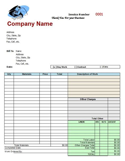 mechanic shop invoices google search invoice template