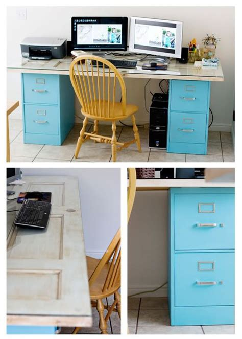 how to dress up a metal file cabinet the lovely side upcoming diy inspiration old door desks