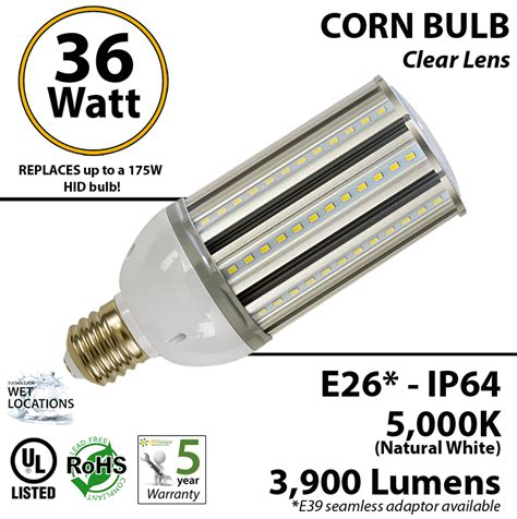 175 watt hid hps led equivalent 36w corn light bulb 5000k