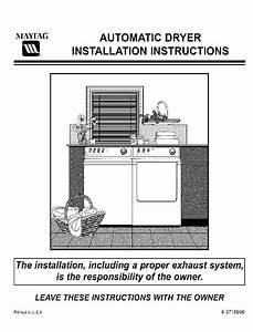 Maytag Mde6400ayq Dryer Installation Instructions Manual