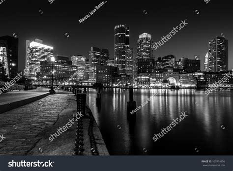 Boston Harbor Night Black White Massachusetts Stock Photo