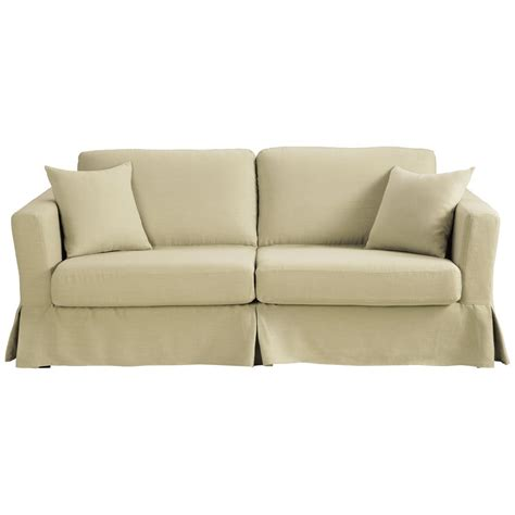 3 Seater Linen Sofa Bed In Natural Royan  Maisons Du Monde