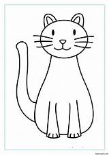 Printable Cat Coloring Pages Cats Print Easy Animal Desktop Save Right Background sketch template