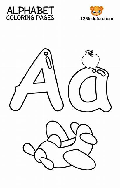 Alphabet Coloring Printable 123 123kidsfun Airplane Fun