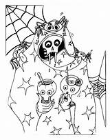 Coloring Pages Halloween Spooky Scary Horror Colors Skull sketch template