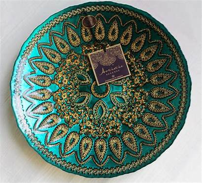 Turkish Glass Bowl Handmade Turquoise Artistic Accents