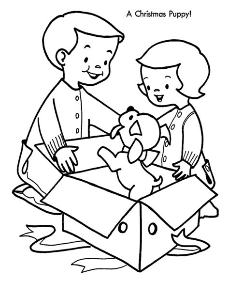 Christmas Puppies Coloring Pages - Coloring Home