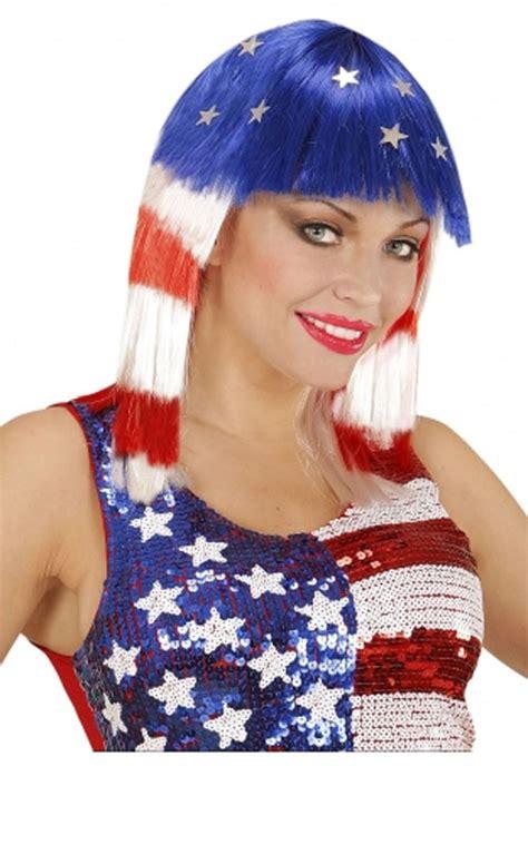 america wig  red white blue  widmann