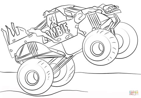 monster trucks coloring pages zombie monster truck coloring page free printable