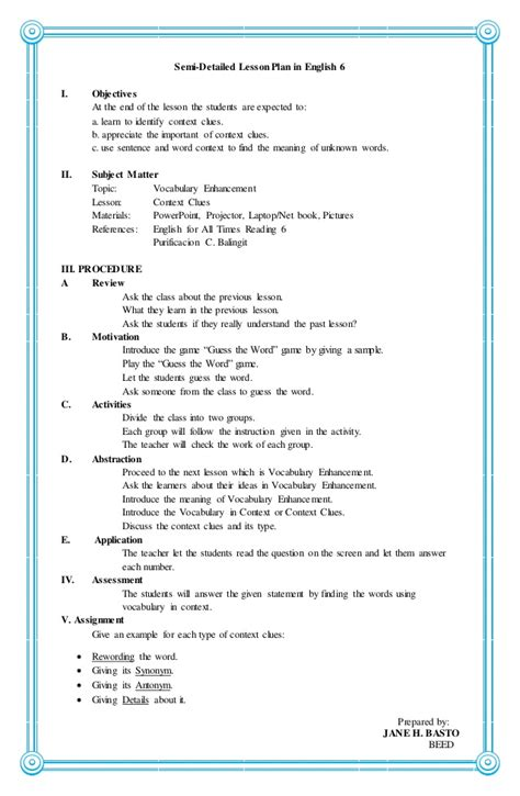 4a s lesson plan in english 6