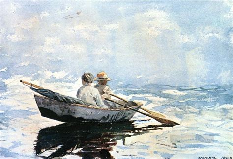 Japanese Rowboat by Rowboat Winslow Homer Watercolor Painting In For Sale
