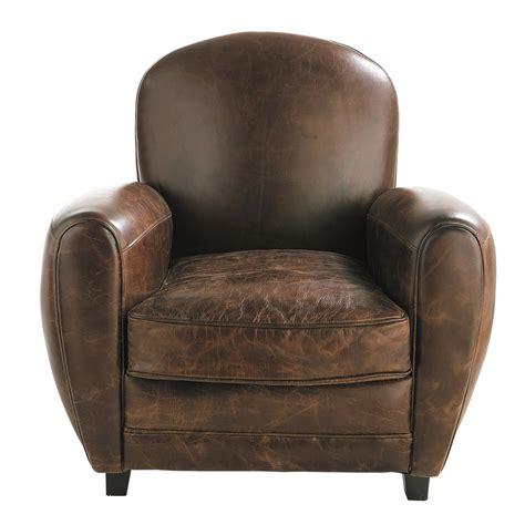 canapé faux cuir leather armchair in brown oxford maisons du monde