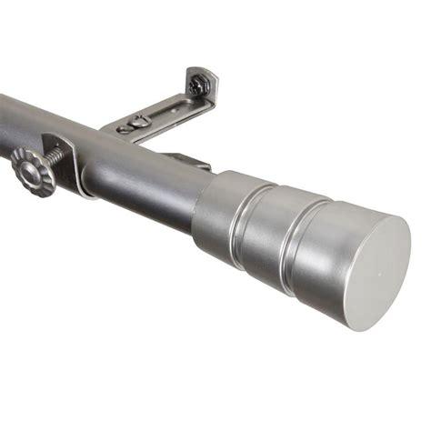 rod desyne 28 in 48 in satin nickel telescoping curtain rod kit with finial 4830 285
