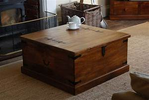 rustic solid mango wood trunk coffee table blanket box With mango wood square coffee table