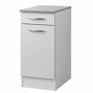 Meuble Profondeur 40 Cm : element bas 1 porte 1 tiroir season blanc blanc mat ~ Teatrodelosmanantiales.com Idées de Décoration