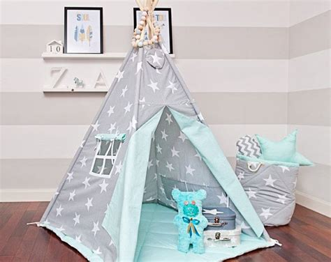 Tipi Zelt Mit Bodenmatte Kinderzimmer by Teepee Set With Floor Mat And Pillows Magic Turquoise