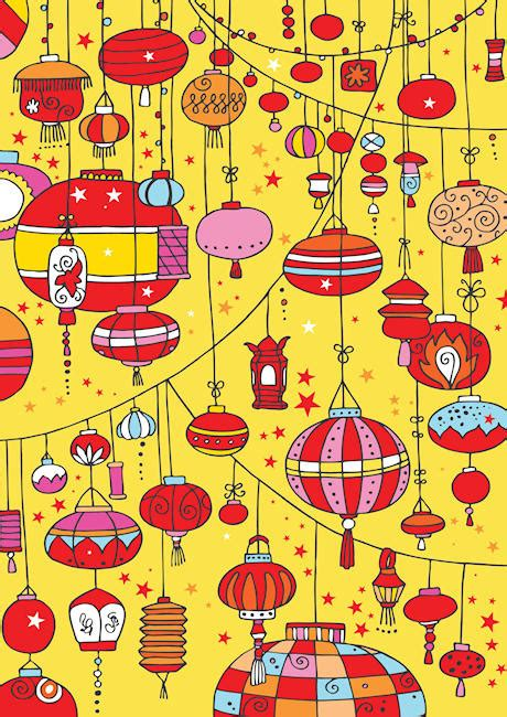 chinese lanterns scrapbook paper