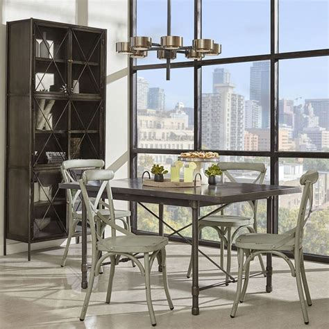 industrial metal top dining room w blue chairs by pulaski furniture furniturepick