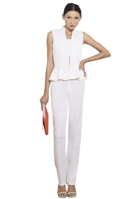 white peplum jumpsuit erica peplum jumpsuit in white lyst