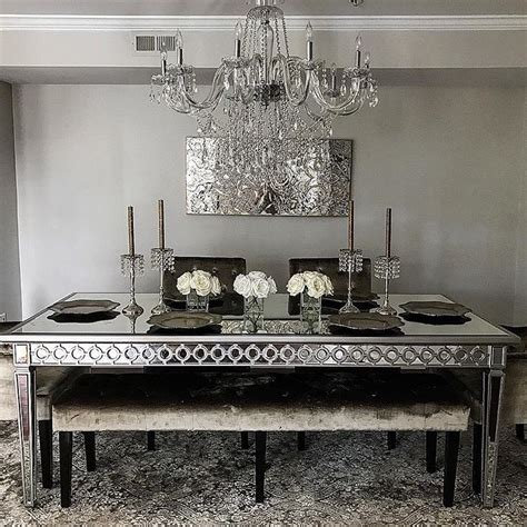 mirrored accent mirrored dining table