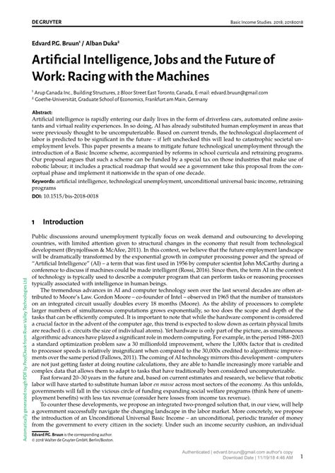 (PDF) Artificial Intelligence, Jobs and the Future of Work