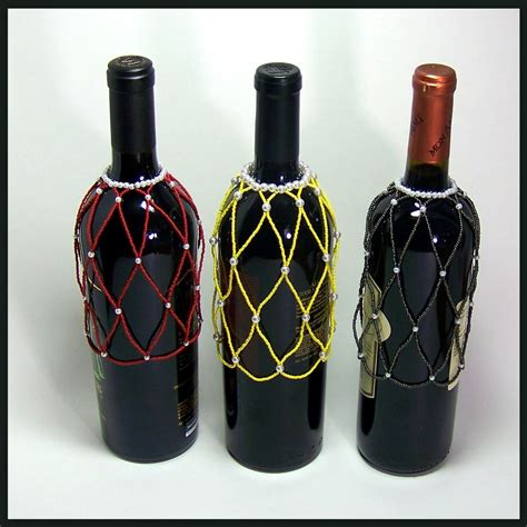 custom made beaded wine bottle cover set by ac jewelry