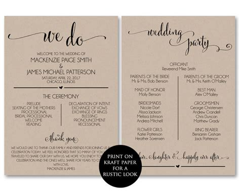 wedding program template wedding program  modernsoiree