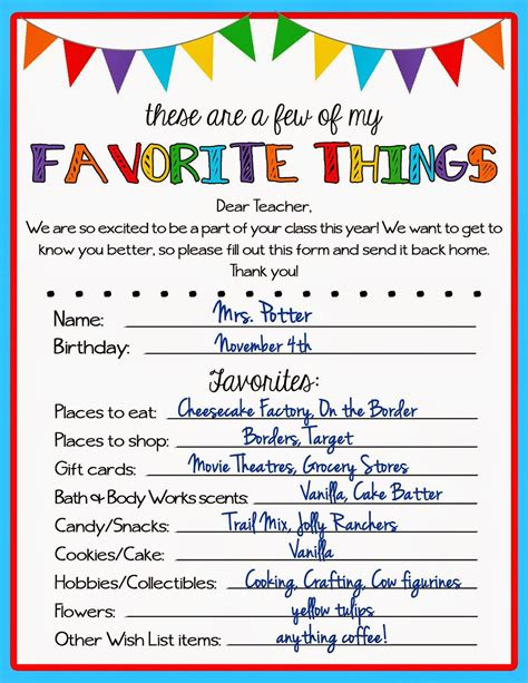 my favorite things list template kicking crafting favorite things questionnaire