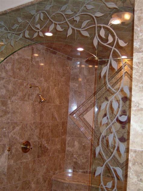 elegant vines close  glass shower doors glass
