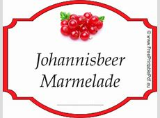 Johannisbeer Marmelade etiketten zum ausdrucken PDF