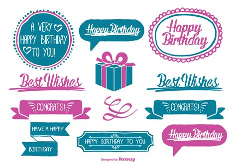 cute hand drawn style birthday labels   vector art stock graphics images