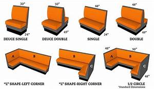 """Booth seating dimensions! (72"""" wide for 3 people"""