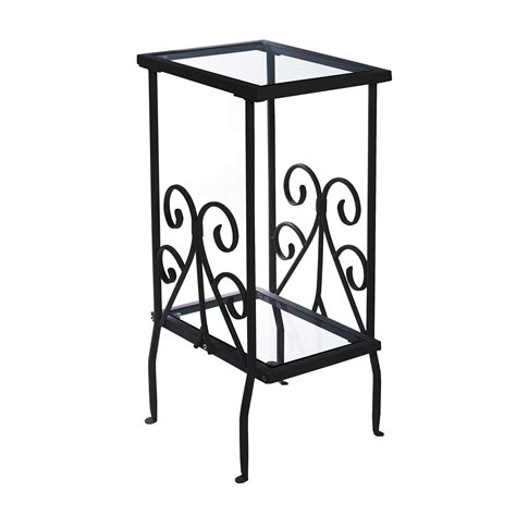 black metal end table pia glass top accent table black metal side table modern