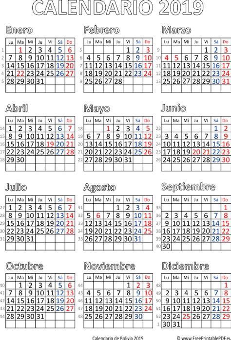 calendario de bolivia imprimir el gratis