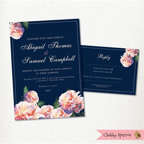 Navy Blue Wedding Invitation RSVP card set Flowers Blue