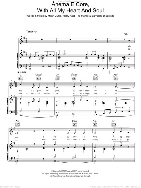 View, download or print this heart and soul piano sheet music pdf completely free. Fisher - Anema E Core (With All My Heart And Soul) sheet ...