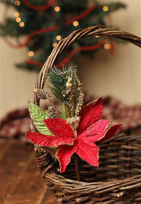 red poinsettia  gold glitter floral picks holiday