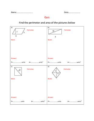 areas  perimeters  quadrilaterals quiz  cool math
