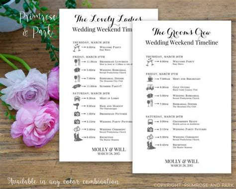bridal party wedding timeline printed cards wedding
