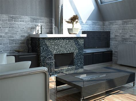 Dark Stone & Tile Fireplace   Modern   Living Room   miami